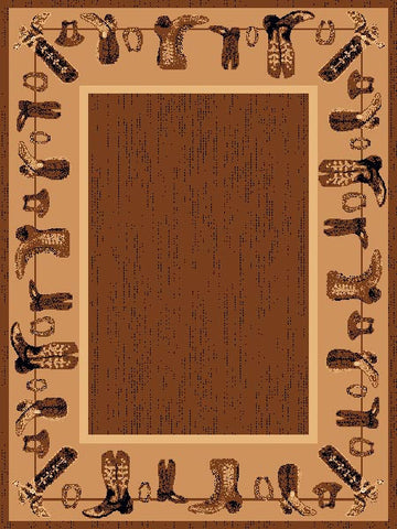 "(PW-LODGE375-5x7) ""Cowboy Boots"" Western Area Rug - 5 x 7"