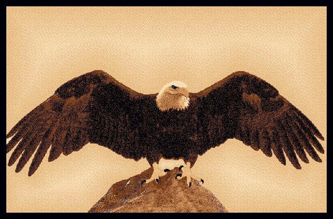 "(PW-LODGE377-2x3) ""Bald Eagle"" Rustic Northwoods Area Rug - 2 x 3"