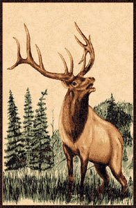 "(PW-LODGE378-4x5) ""Elk"" Rustic Cabin Area Rug - 4 x 5"