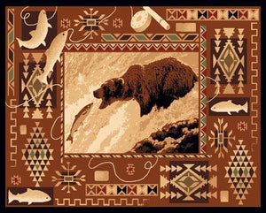 "(PW-LODGE381-2x3) ""Fishing Bear"" Rustic Northwoods Area Rug - 2 x 3"