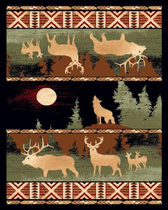 "(PW-LODGE382-2x3) ""Elk & Wolf"" Rustic Northwoods Area Rug - 2 x 3"