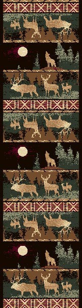 "(PW-LODGE382-2x7) ""Elk & Wolf"" Cabin Runner Area Rug - 2 x 7"