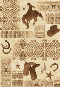 "(PW-LODGE385-8x11) ""West by Southwest Motif"" Area Rug - 8 x 11"