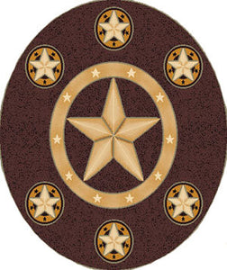 "(PW-SKINZ78CH-5RD) ""Western Star"" Western Round Area Rug Chocolate - 5 Ft Diameter"