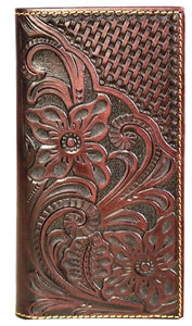 Genuine Tooled & Basketweave Leather Phone Charging Wallet