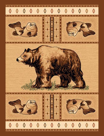 "(PWLODGE360-8x11) ""Bear & Fish"" Cabin Area Rug - 8 x 11"