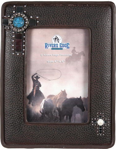 "(RE1050) Faux Leather Western Photo Frame with Cross - 4"" x 6"""