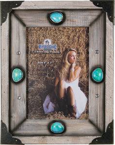 "(RE1104) Western Wood & Turquoise Photo Frame - 5"" x 7"""