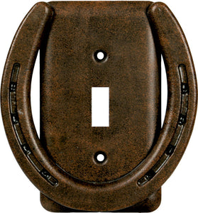(RE1298) Western Metal Horseshoe Single Switch Cover