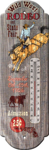 "(RE1323) ""Wild West Rodeo"" Large Tin Thermometer"