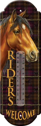 "(RE1347) ""Riders Welcome"" Western Horse Tin Thermometer"