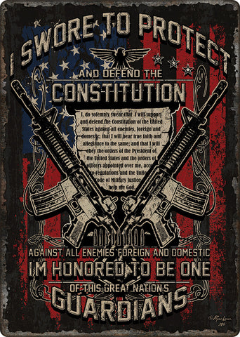 "(RE1437) ""Guardians of Constitution"" Tin Sign"