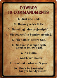 "(RE1529) ""Cowboy 10 Commandments"" Tin Sign  12"" x 17"""