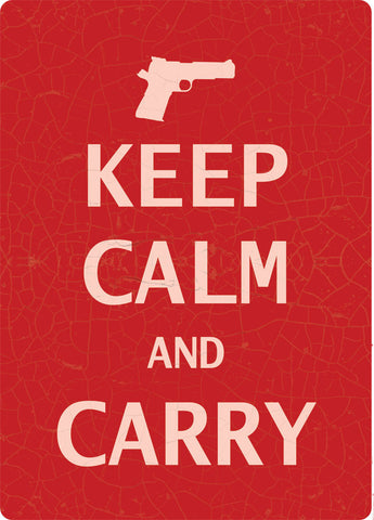 "(RE1599) ""Keep Calm and Carry"" Western Tin Sign"
