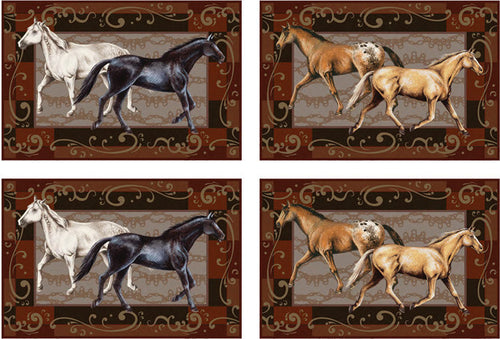 (RE1662) Western Horse Placemats - Set of 4