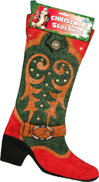(RE1726) Western Cowboy Boot Christmas Stocking