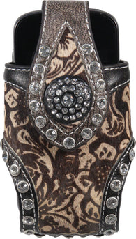 (RE1840) Western Horse Hair Cell Phone Holder with Rhinestones