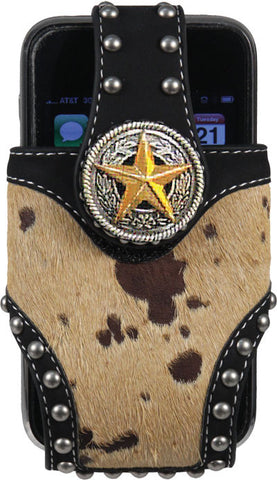 (RE1841) Western Horse Hair Cell Phone Holder with Star Concho