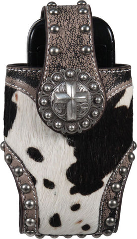 (RE1842) Western Horse Hair Cell Phone Holder with Cross Concho