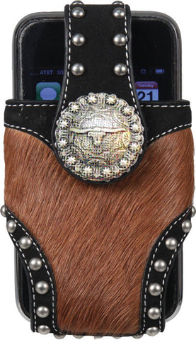 (RE1843) Western Horse Hair Cell Phone Holder with Longhorn Concho