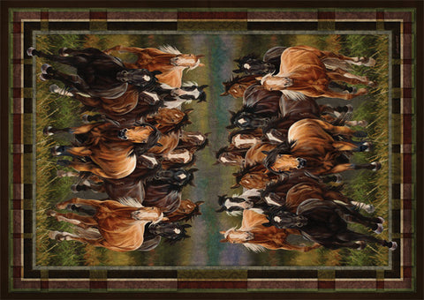 Re1884 Stampeding Horses Western Area Rug 52 X 37 Wild West