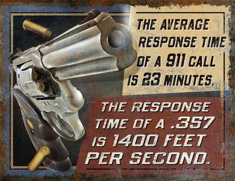 "(RE2211) ""Response Time"" Western Heavy Metal Sign"