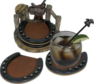 (RE537) Western Horseshoe Coaster Set