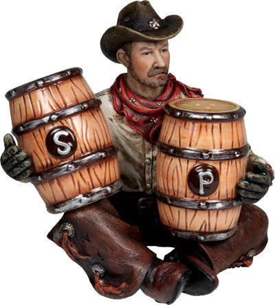 (RE589) Cowboy Holding Barrels Salt & Pepper Shaker Set