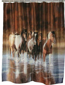 "(RE768) ""Rush Hour"" Western Horse Shower Curtain"