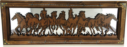 (RE972) Running Horses Western Wall Mirror 31