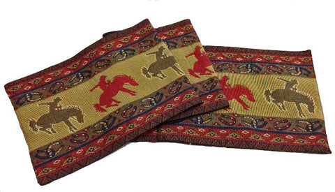"(RK12044) ""Broncos"" Western Jacquard Table Runner"