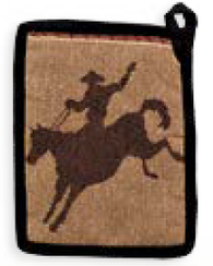 "(RK16027) ""Cowboy"" Western Pot Holder"