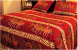 "(RK17502) ""Running Horses"" Bed Cover & Shams - Queen"
