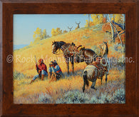 "(RMP-2044) ""Glad I Hired This Guide"" Western Framed Canvas Print"
