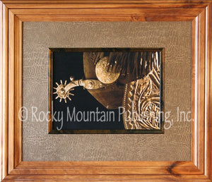 "(RMP-BAB358721216DL) ""Star Spur Decor"" Western Framed & Matted Print (20"" x 24"")"