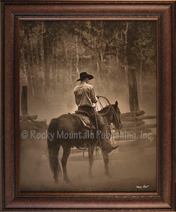 "(RMP-BH013DL) ""Lost Canyon Cowboy"" Western Framed & Matted Print"