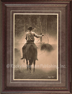 "(RMP-BH015) ""Cowboy Named Bronco"" Western Framed & Matted Print"