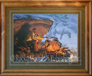 "(RMP-CP004) ""Hunkered Down"" Western Framed & Matted Print (24"" x 30"")"