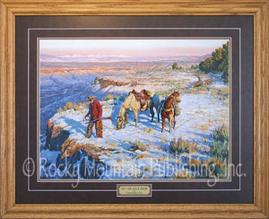 "(RMP-CP035) ""Out the Back Door"" Western Framed & Matted Print (24"" x 30"")"
