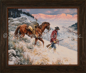 "(RMP-CP2001) ""No Place Like Home"" Western Framed Canvas Print"