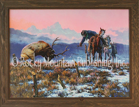 "(RMP-CP2031) ""Down to the Wire"" Western Canvas Framed Print"