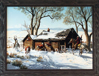 "(RMP-CP2038) ""Eviction Day"" Western Framed Canvas Print"