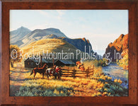 "(RMP-CP2047) ""The Round Corral"" Western Framed Canvas Print"
