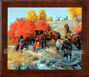 "(RMP-CP2060) ""The Higher You Go The More You See"" Western Framed Canvas Print"