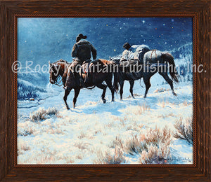"(RMP-CP2061) ""The Lights of Home"" Western Framed Canvas Print"