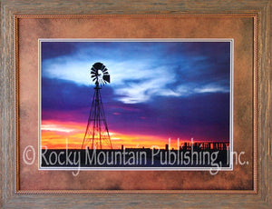"(RMP-DB003) ""Fade Into Light"" Western Windmill Framed & Matted Print"