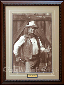 "(RMP-JW001) ""The Duke"" Framed & Matted John Wayne Print (22"" x 30"")"
