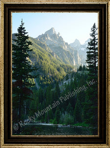 "(RMP-MT2019) ""Lakes View"" Western Canvas Textured Framed Print"