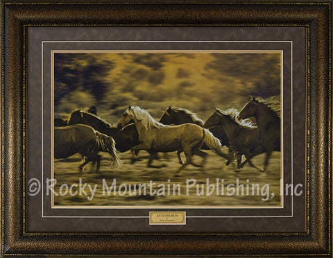 "(RMP-N7420) ""Autumn Run"" Western Framed & Matted Horse Print"