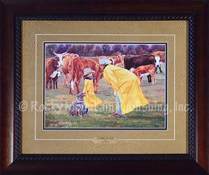 "(RMP-SS30) ""Game Plan"" Western Framed & Matted Print Art"